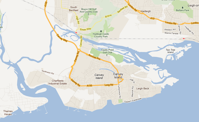 Map showing Canvey Island